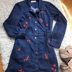 Madewell Denim Dress with red floral embroidery 8
